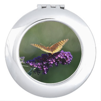 Butterfly On Purple Blossom Compact Mirrors