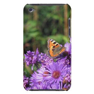 Butterfly on purple flowers ipod case