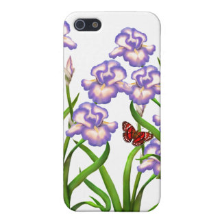 Butterfly on Purple Iris Flowers iPhone Case iPhone 5 Cover