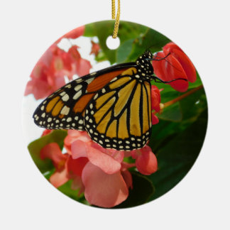 Butterfly on Red Flowers Ornament