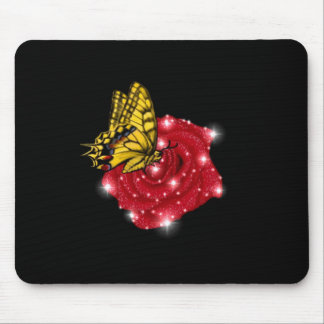 Butterfly on red rose M. asterisks rain drops Mousepad
