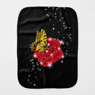 Butterfly on red Rose with Raindrops and Stars Burp Cloth