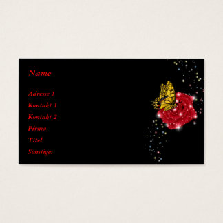 Butterfly on red Rose with Raindrops and Stars Business Card