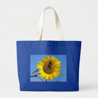 Butterfly on Sunflower Large Tote Bag