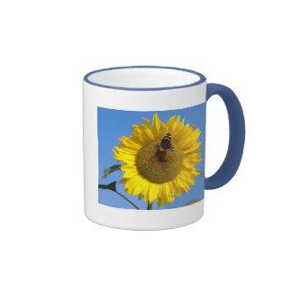 Butterfly on Sunflower Ringer Mug