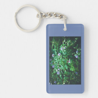 Butterfly on the wild flowers Double-Sided rectangular acrylic key ring