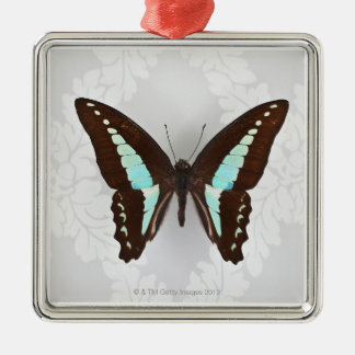 Butterfly on wallpaper background Silver-Colored square decoration