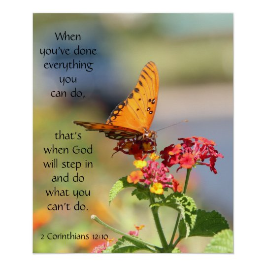 Butterfly on Wildfllowers, Scripture Verse Poster