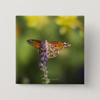 Butterfly on wildflowers 15 cm square badge