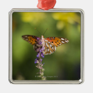 Butterfly on wildflowers Silver-Colored square decoration