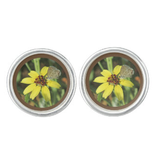 Butterfly on Yellow Flower Cuff Links