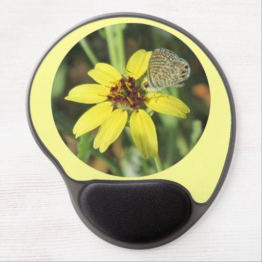 Butterfly on Yellow Flower Gel Mousepad