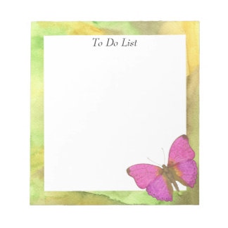 Butterfly on Yellow/Green Watercolor Notepad