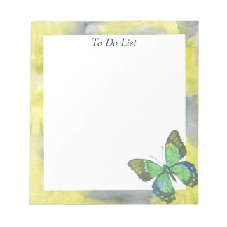 Butterfly on Yellow/Grey Watercolor Notepad