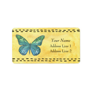 Butterfly on Yellow Watercolor Label