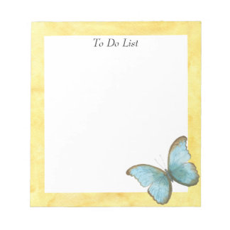 Butterfly on Yellow Watercolor Notepad