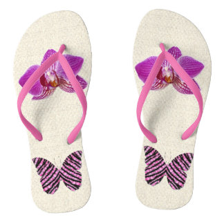 Butterfly & orchis pinks flip flops