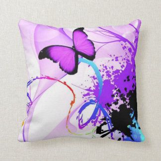 butterfly paint splash throw pillow