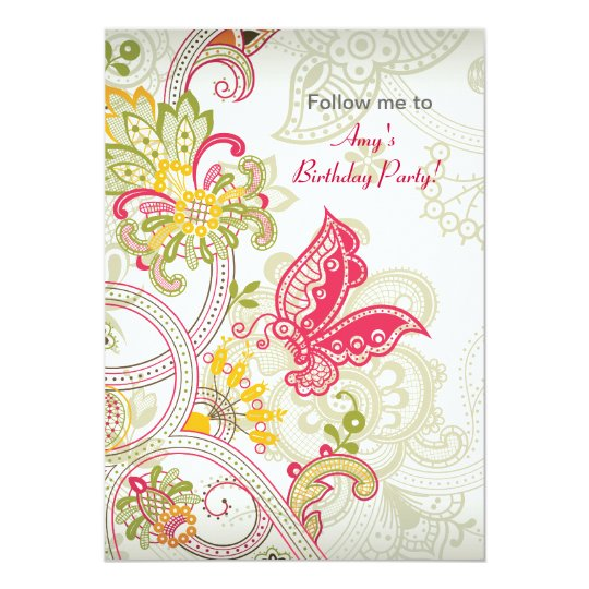 Butterfly Patch Birthday Invitation