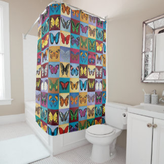 Butterfly Patchwork Shower Curtain