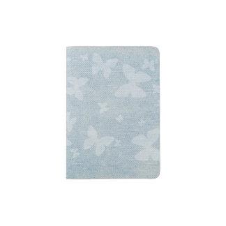 Butterfly pattern on faded denim look passport holder