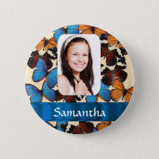 Butterfly pattern personalized  photo template 6 cm round badge