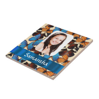 Butterfly pattern personalized  photo template tile