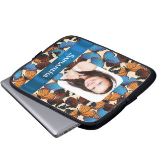 Butterfly pattern photo template laptop sleeve