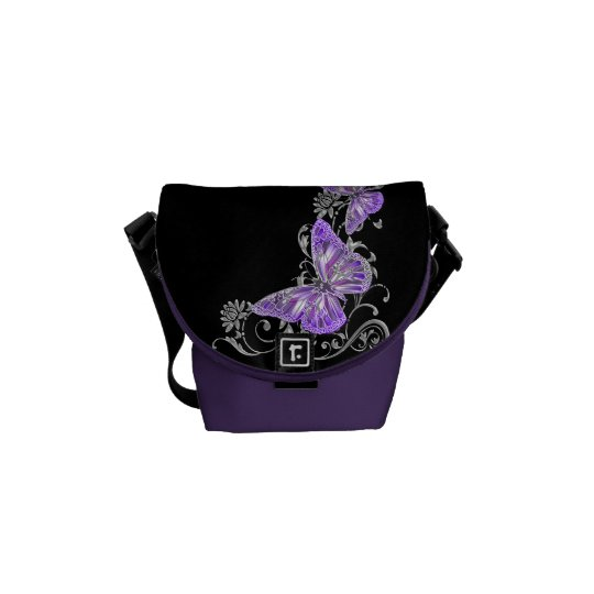 Butterfly pattern purple black courier bag