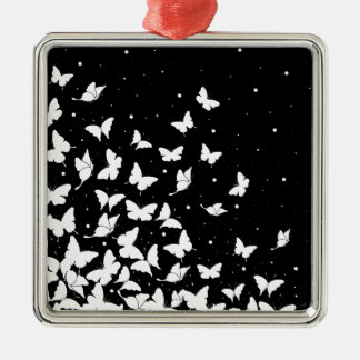 Butterfly pattern Silver-Colored square decoration