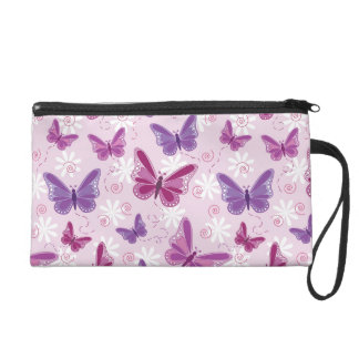 butterfly pattern wristlet purse