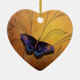 Butterfly Pause V2  Heart Ornament