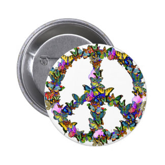 Butterfly Peace Symbol 6 Cm Round Badge