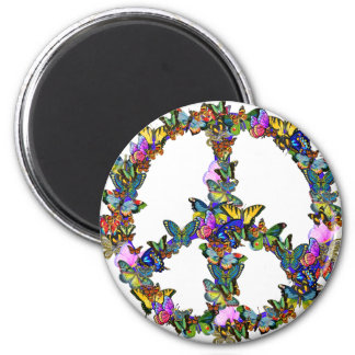 Butterfly Peace Symbol 6 Cm Round Magnet