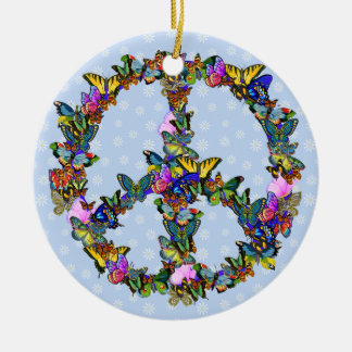 Butterfly Peace Symbol Christmas Ornament