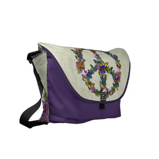 Butterfly Peace Symbol Courier Bags