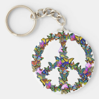 Butterfly Peace Symbol Key Ring
