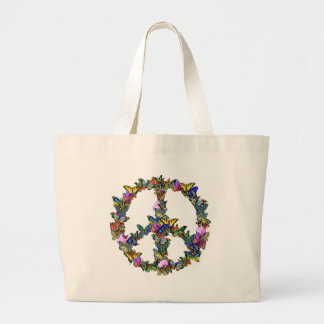 Butterfly Peace Symbol Large Tote Bag