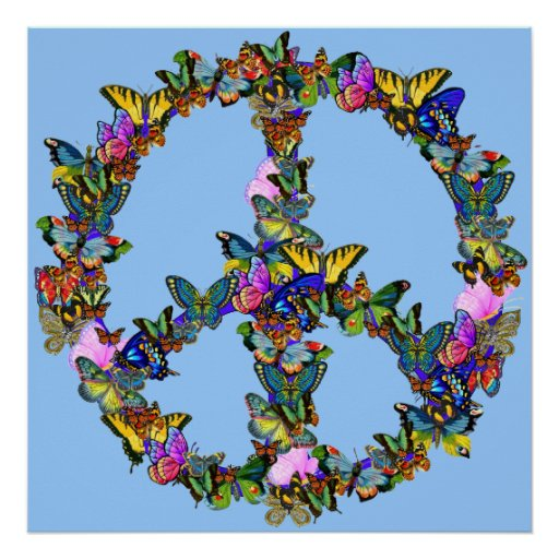 Butterfly Peace Symbol Posters