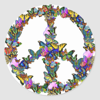 Butterfly Peace Symbol Round Sticker