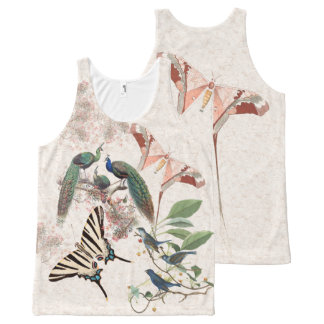 Butterfly Peacock Birds Wildlife Animals Tank Top All-Over Print Tank Top