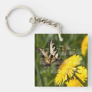 Butterfly Perch 2013 Calendar Square Acrylic Key Chain