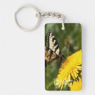 Butterfly Perch; Customizable Single-Sided Rectangular Acrylic Key Ring