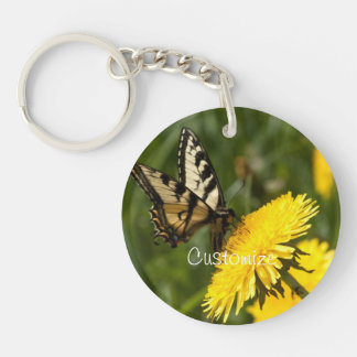Butterfly Perch; Customizable Single-Sided Round Acrylic Key Ring