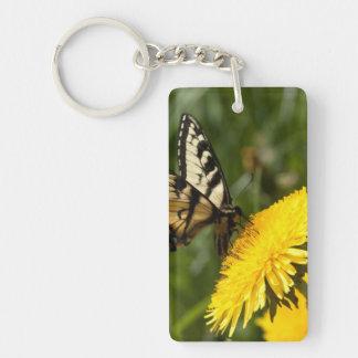 Butterfly Perch Single-Sided Rectangular Acrylic Key Ring