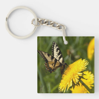 Butterfly Perch Single-Sided Square Acrylic Key Ring