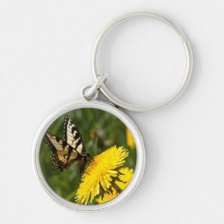 Butterfly Perch Silver-Colored Round Key Ring