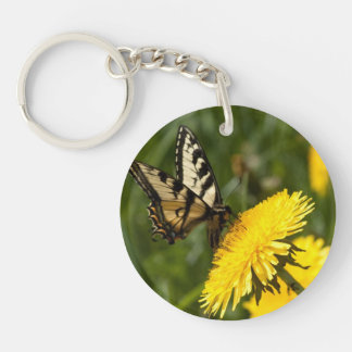 Butterfly Perch Single-Sided Round Acrylic Key Ring