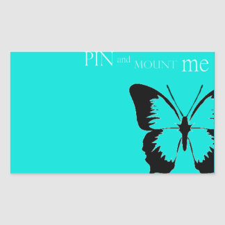Butterfly pin and mount rectangular sticker