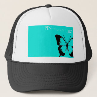 Butterfly pin and mount trucker hat